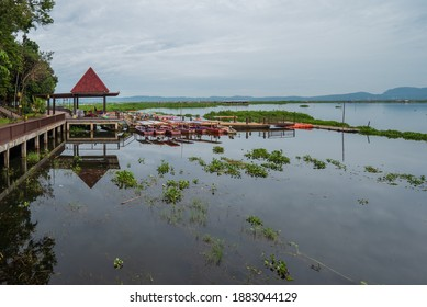 Semarang, Indonesia - December 15 2020 : Brand new Bukit Cinta Rawa Pening (Love Hill Of Rawapening). Dock where tourists take a boat to get around the lake Rawa Pening.