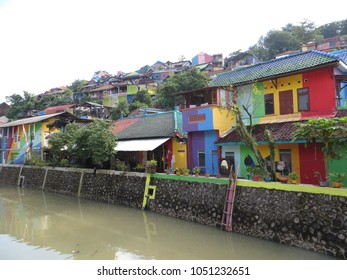 SEMARANG, INDONESIA - February 10, 2018: Kampung Pelangi (Rainbow Village) at Manggar Wangi Randusari, was considered to be a slum in its former life  but now it is clean, attractive and vibrant.