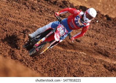 SEMARANG, INDONESIA - JULY 14: motocross racer action at the MXGP world championship on the BSB City circuit, Semarang 14 July 2019.