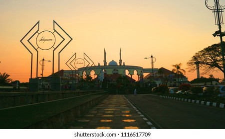 Semarang, Indonesia - June 18, 2018: The Great Mosque of Central Java or Masjid Agung Jawa Tengah in Jalan Gajah Raya, Gayamsari.