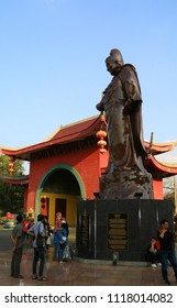 Semarang, Indonesia - June 18, 2018: Statue of Zheng He in Sam Poo Kong Temple or Zeng He Temple in Central Java.