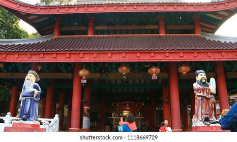 Semarang, Indonesia - June 18, 2018: Tho Tee Kong Temple in Sam Poo Kong complex in Central Java.