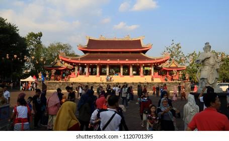 Semarang, Indonesia - June 18, 2018: Crowd people in Sam Poo Kong Temple (Gedung Batu Temple).