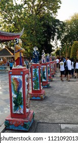Semarang, Indonesia - June 18, 2018: Statues in front of Tho Tee Kong Temple in Sam Poo Kong complex.