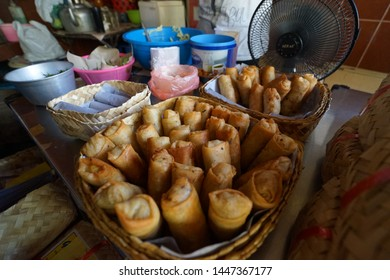 Semarang, Indonesia - June 8,2019: The view of Lumpia Gang Lombok. The famous Lumpia place in Semarang. Lumpia is special culinary from Semarang city.