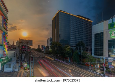 Semarang, Indonesia - May 16 2021 : rush hour blue hour and sunset time at Pandanaran street Semarang