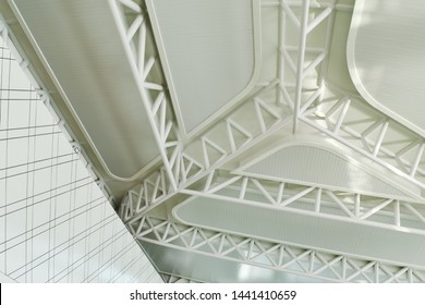 Semarang, Indonesia - May 20, 2019: Steel modern white structure architecture detail in Ahmad Yani International Airport.