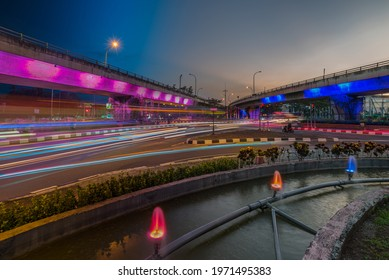 Semarang, Indonesia - May 9 2021 : busy traffic on blue hour at Flyover Kalibanteng area