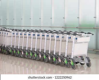 Semarang, Indonesia - October 28, 2018: A line of luggage carts at the terminal in Ahmad Yani International airport.
