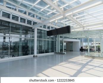 Semarang, Indonesia - October 28, 2018: The exterior lobby of arrival terminal in Ahmad Yani International airport.