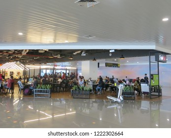 Semarang, Indonesia - October 28, 2018: Dining area at the terminal in Ahmad Yani International airport.