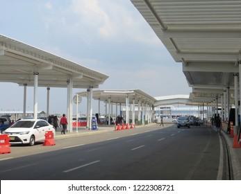 Semarang, Indonesia - October 28, 2018: Drop off area at the departure terminal in Ahmad Yani International airport.