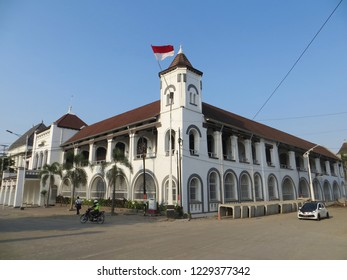 Semarang, Indonesia - October 28, 2018: Deserted street in Kota Lama district with background of Dutch colonial old buildings.