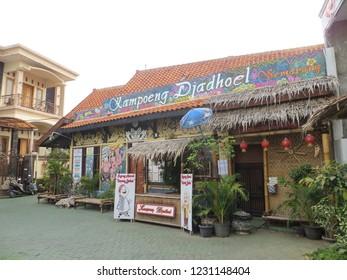 Semarang, Indonesia - October 29, 2018: Traditional Indonesian houses at the village of Kampung Batik.
