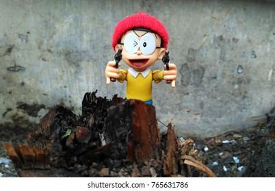 Semarang (Indonesia), September 1, 2017: Figure Nobita Say Gotcha