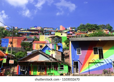Semarang Jawa Tengah, Indonesia - 25 June 2017: The colorfull buildings or Rainbow Village (kampung pelangi)
