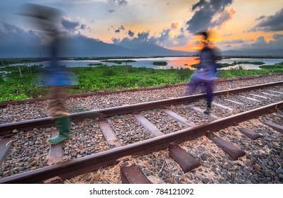 Semarang Railway Crossing the lake
