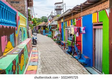 Semarng, Indonesia - November, 01, 2017 The colorful rainbow houses in Kampung Pelangi in Randusari in South Semarang in Java Indonesia