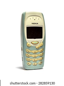 SEMBAWANG, SINGAPORE - MAY 9, 2015: Nokia 3315 cell phone isolated on white background. Nokia is a Finnish communications and information technology corporation.