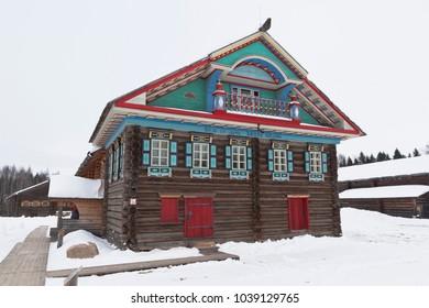 "Semenkovo, Vologda region, Russia - February 11, 2018: House Kopylova in the architectural and ethnographic museum ""Semenkovo"" in the Vologda region"