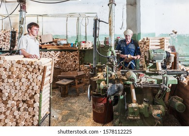 Semenov, Volga Region / Russia, 2017: production of wooden painting objects and creative work at the Khokhloma Painting Plant in the city of Semenov
