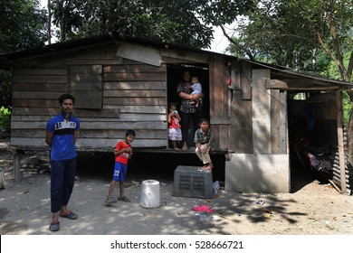 SEMENYIH, MALAYSIA -FEBRUARY 03, 2014:  A very poor family living without basic facilities such as water supply and electricity in Semenyih, Selangor.