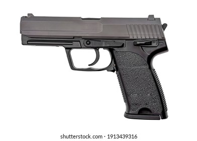 Semi automatic gun, 2nd amendment and the right to bear arms concept with picture of handgun isolated on white background with clipping path cutout