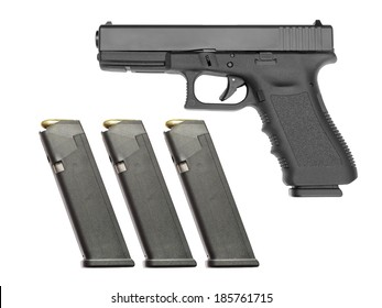 Semi automatic handgun with three full magazines on white background. Each magazine filled with 17 rounds.