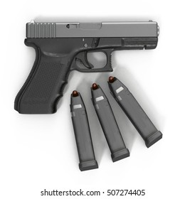 Semi automatic pistol with magazine and ammo on a white. 3D illustration