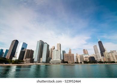 Semi fisheye wideangle Chicago downtown skyline with skyscraper across Lake Michigan