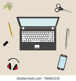 Semi realistic complete modern  illustration concept of creative office workspace. Top view of desk background with laptop, digital devices, office objects,