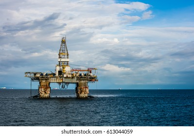 Semi submersible Oil Rig Anchored during Laid Up at Anchorage area