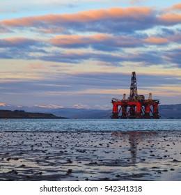 Semi Submersible Oil Rig at Cromarty Firth in Invergordon, Scotland