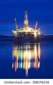 Semi Submersible Oil Rig during Sunrise at Cromarty Firth in Invergordon, Scotland