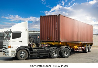 Semi- truck with cargo trialer parking at a blue sky. Industry freight truck transportation.