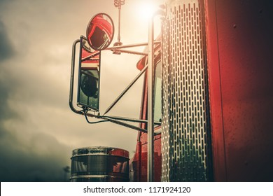 Semi Truck Driving Theme. Outside Mirrors Closeup. Transportation Industry.