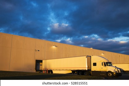 Semi Truck in the loading zone of the warehouse