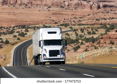 Semi truck on difficult road in Utah, USA
