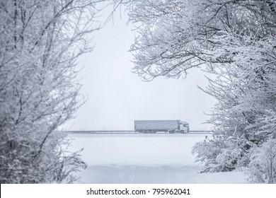 semi truck on the winter road
