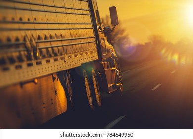 Semi Truck Shipping Destination. Freight and Logistics Concept.