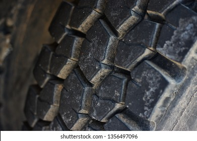 Semi Truck Trailer Tire, Dirty and Worn, Close Up