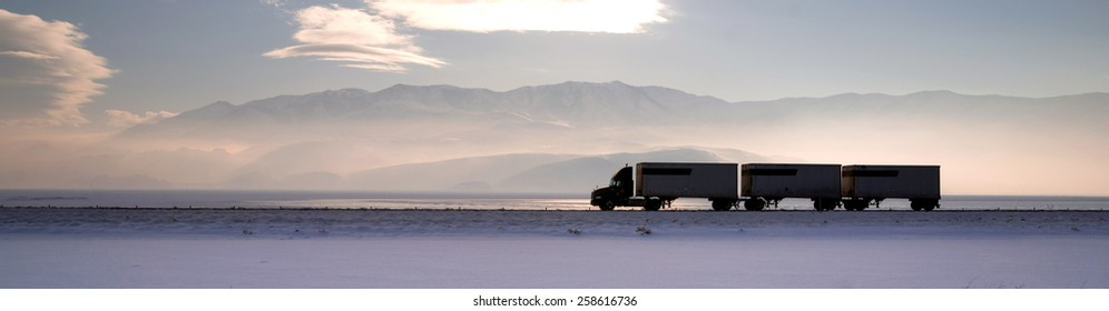 Semi Truck Travels Highway Over Salt Flats Freight Transport