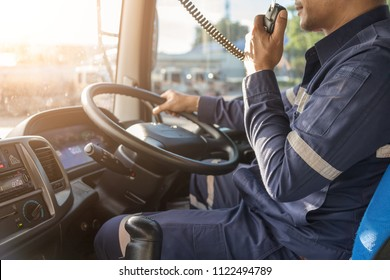 semi truck,Truck Driver Making Talking Through Radio.