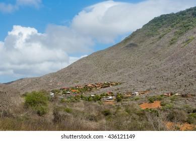 Semi-arid landscape and a little village in Margarita Island, Venezuela