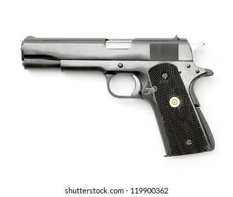 Semi-automatic gun isolated on white