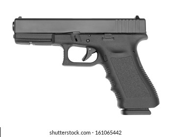 Semi-automatic handgun on white background.