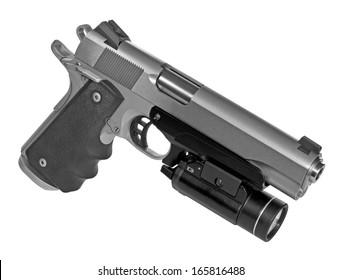 semi-automatic pistol with flashlight isolated on white