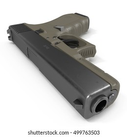 Semi-automatic pistol isolated on a white. 3D illustration