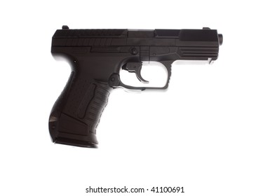 A semiautomatic pistol on the table.