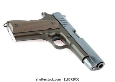 Semi-automatic pistol on white background